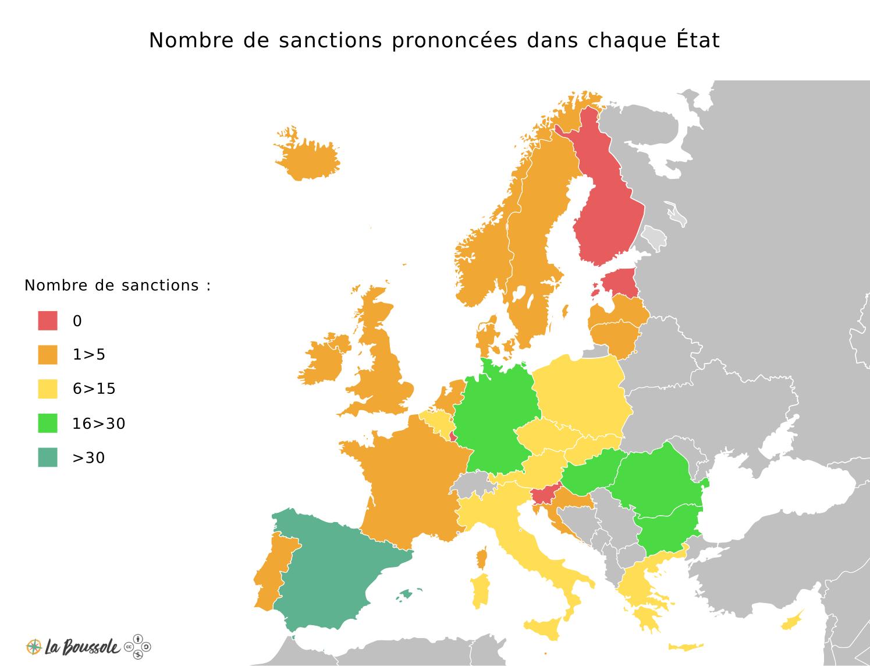 Nombre de sanctions prononcées dans chaque État